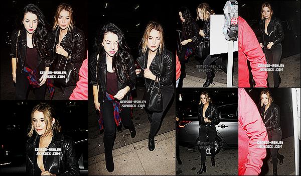 * 29/10/15 : Ashley a été aperçu lorsqu'elle quittait   Le Jardin nightclub    avec Shailene et Izak  situé à   Hollywood.  Toujours du noir pour - Ashley mais nous sommes habitués, mais son ami nous permet de voir un peu de couleur qui est bien visible  ! *