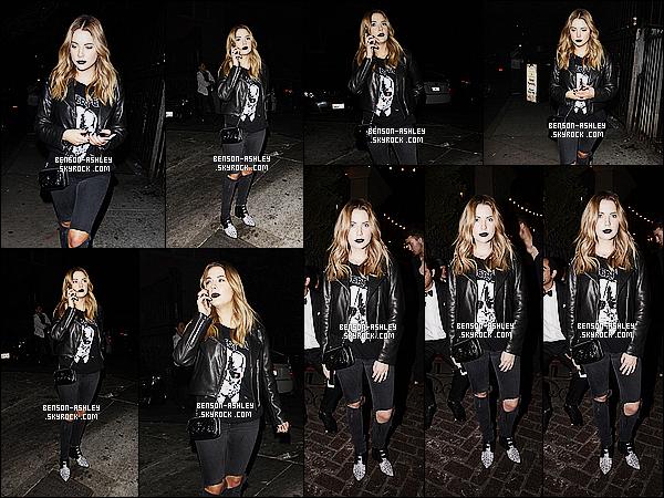* 31/10/15 : Ashley a été aperçu au quand elle arrivait à la fête   d'Halloween  de J. Jared situé dans  Hollywood.  Ashley était une nouvelle fois habillé en noir mais cette fois elle nous rajoute aussi son rouge a lèvre noir qui est plutôt bien donc  TOP  ! *