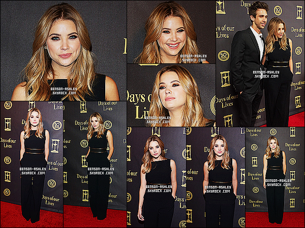 """* 07/11/15 : Ashley était présente lors du 50eme anniversaire des   """"Days Of Our Lives""""   qui était à  Los Angeles.  Ashley nous présente une tenue noire et très classe avec une ceinture autour de la taille noire et or magnifique, c'est un très jolie TOP  ! *"""