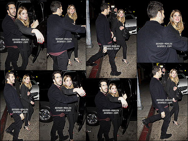 * 13/11/15 : Ashley a été aperçu en compagnie d'un ami à la sortie du   Nice Guy   qui est  dans  West Hollywood.  Ashley a remit la même tenue que celle de la veille lors de l'événement donc elle est très jolie encore une fois donc c'est un jolie TOP  ! *
