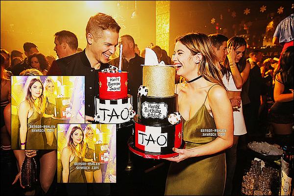 * 19/12/15 : Ashley était présente lors d'une fête d'anniversaire au    No Tao Asian Bistro   qui est  à  Las Vegas.  Ashley fêtait son 26eme anniversaire  dans une tenue différente du noire qui lui va très bien, elle est rayonnante c'est un très jolie TOP ! *