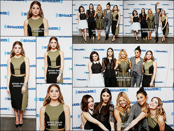 * 11/01/16 : Ashley était présente avec le cast de PLL aux    Sirius XM Studios  qui est situé dans  New York City.  Ashley propose une tenue noire et kaki un modèle symétrique qui est plutôt jolie et qui lui va bien  ce serait un jolie TOP pour la tenue ! *