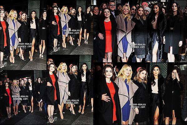 * 12/01/16 : Ashley était présente lors de l'emission    Good Morning America  qui était dans  New York City.  Ashley avait une jolie tenue, une robe plus exactement mais qui n'était pas noir mais restait dans le sombre mais c'est un très jolie TOP ! *