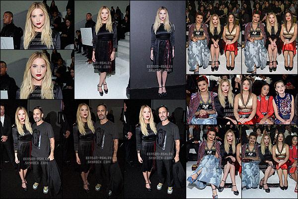 * 18/02/16 : Ashley a été présente lors du défilé de      Marc Jacobs    pour la Fashion Week   situé  à - New York City.    Ashley a sortie une tenue que je ne trouve pas très jolie pour le coup, elle ne lui va pas vraiment mais j'aime son maquillage -  un FLOP    ! *