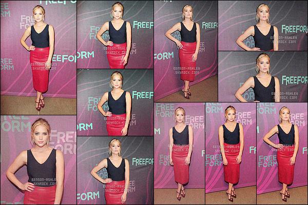 * 07/04/16 : Ashley était présente avec le cast de Pretty Little Liars au     Freeform Upfront        dans -  New York City.  Ashley a un jolie haut que je trouve sympa, concernant la jupe j'aurais préféré qu'elle soit un peu moins longue mais c'est bien -    TOP    ! *