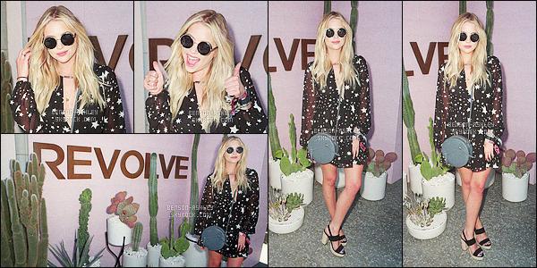 * 17/04/16 : Ashley était présente accompagné d'amis au    Coachella Music Festival       qui est   situé dans -  l'Indio.  Ashley a été aperçu pendant le festival notamment au Perverse Sunglasses et au Revolve Desert House pour les  évenements organiser      ! *