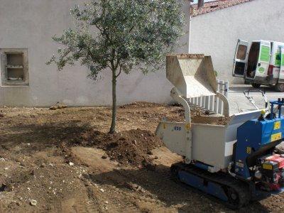 réalisation d'un gazon par semis avec arrosage intégré à Vandré