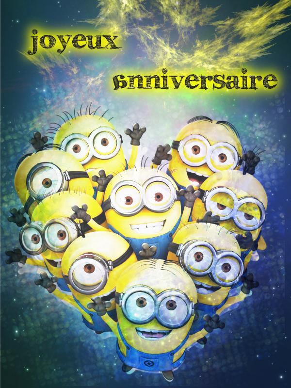 Top Carte d'anniversaire Minions - les dessins de Marion BT86