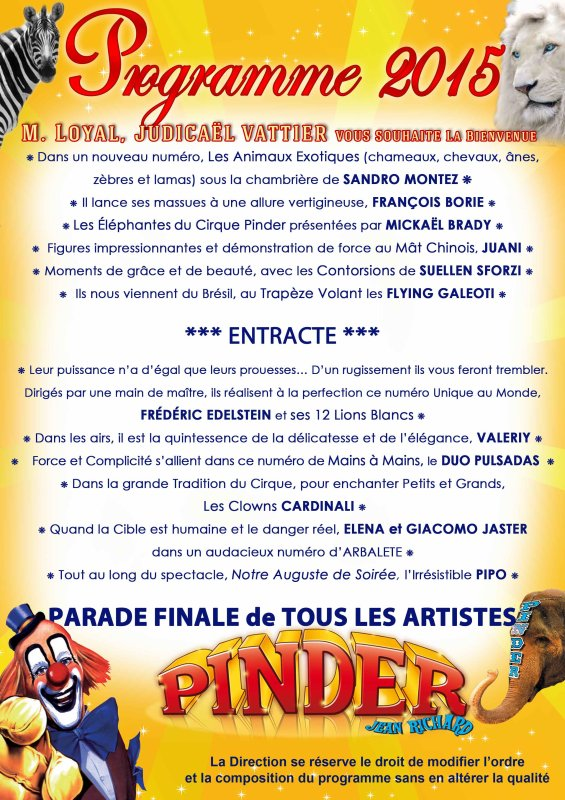 programme du Cirque Pinder  60 ans +1  !