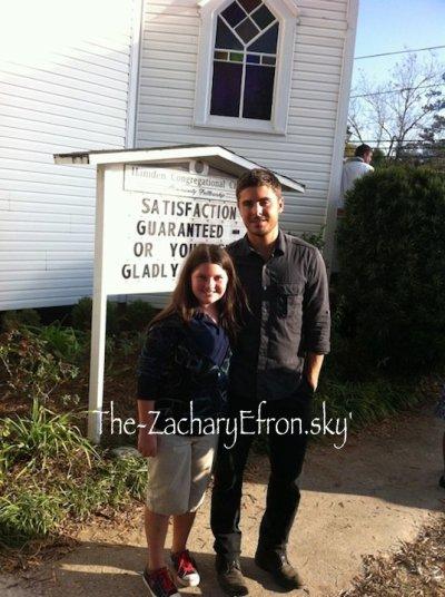 Zac et une fan dans les rues de Louisiane