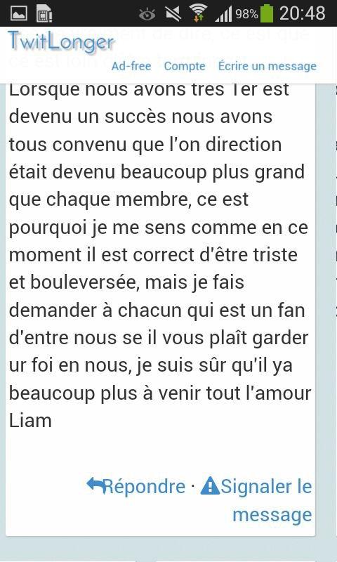 Voilà ce qu'a écrit Liam pour Zayn .c'est trop mignon je t'aime Liam Payne ♡