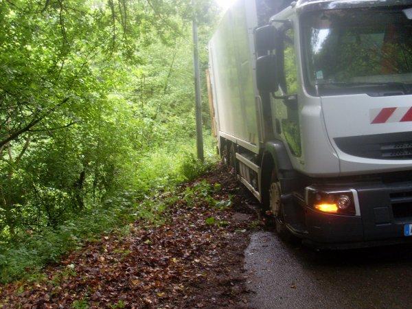 camion poubelle au fosse