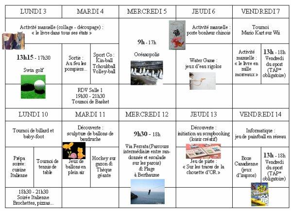Extrêmement PROGRAMME PRE-ADO - TICKET SPORT 1ER QUINZAINE AOUT 2009 - Venez  VV57