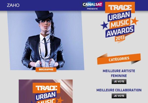 """ZAHO nominée au TRACE URBAN AWARDS dans la catégorie """"Meilleure artiste féminine"""" & """"Meilleure collaboration"""" avec la Fouine pour """"Ma meilleure"""" ! 1 vote par jours par personne par catégorie TOUS les jours !"""