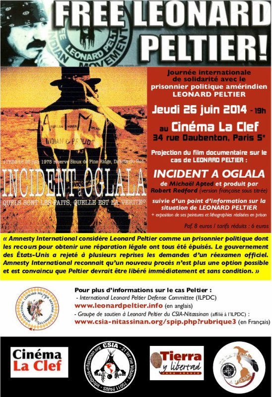 "PROJECTION DU FILM "" INCIDENT A OGLALA"" à PARIS le 26 juin 2014"