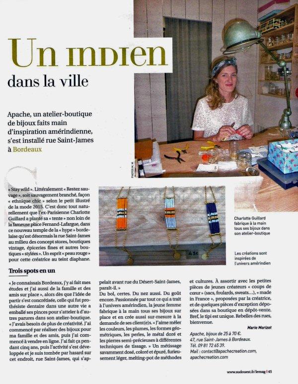 BIJOUX APACHES une créatrice française à BORDEAUX