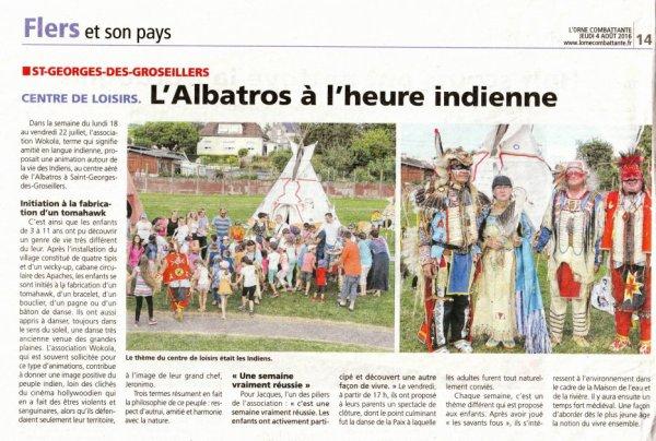 RUBRIQUE DE PRESSE DU GROUPE MAKAH WACIPI EN ANIMATION AU CENTRE DE LOISIRS L'ALBATROS A ST GEORGES DES GROSEILLERS