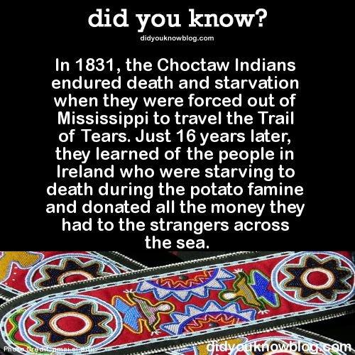 Aide des indiens CHOCTAW pendant la famine irlandaise