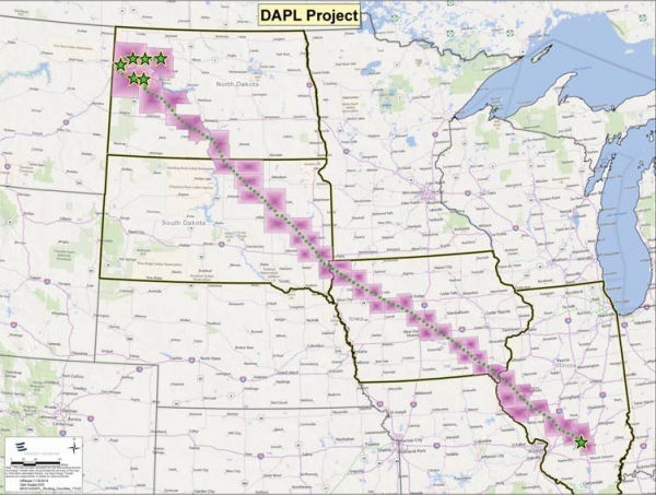 CARTES DES LIEUX DE RESISTANCE INDIENNE CONTRE LE PIPELINE DAKOTA ACCESS