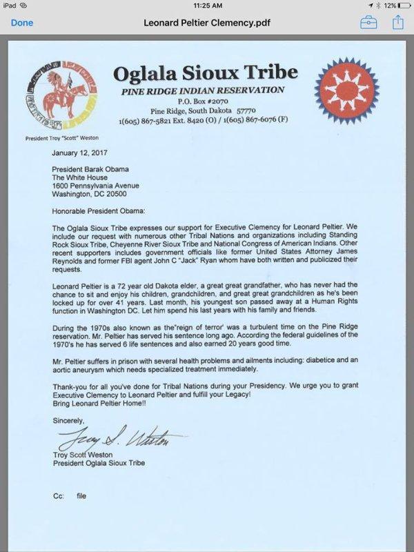 Le nouveau Président Troy Scott Weston de  la Oglala Sioux Tribe demande la clémence de Leonard Peltier au Président Obama.