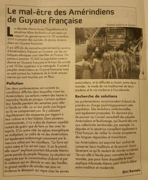 LE MAL-ÊTRE DES AMERINDIENS DE GUYANE