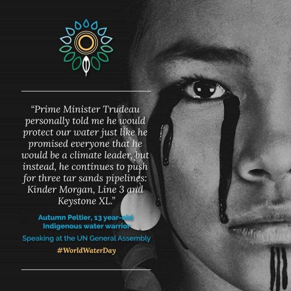 autumn PELTIER 13 ans combattante indigène pour l'eau parlant à l'assemblée générale des nations unies