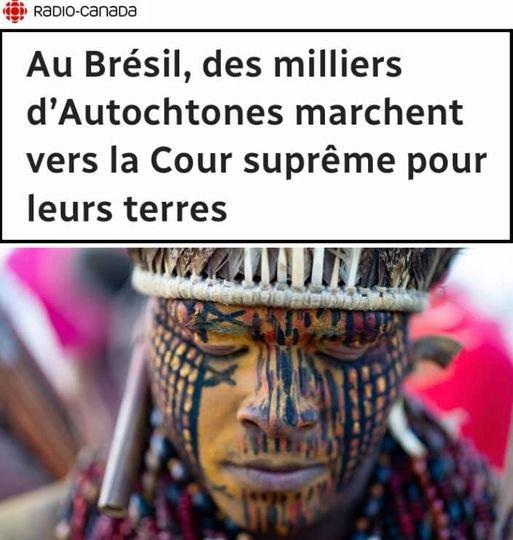 AU BRESIL DES MILLIERS D'AUTOCHTONES MARCHENT VERS LA COUR SUPRÊME POUR LEURS TERRES
