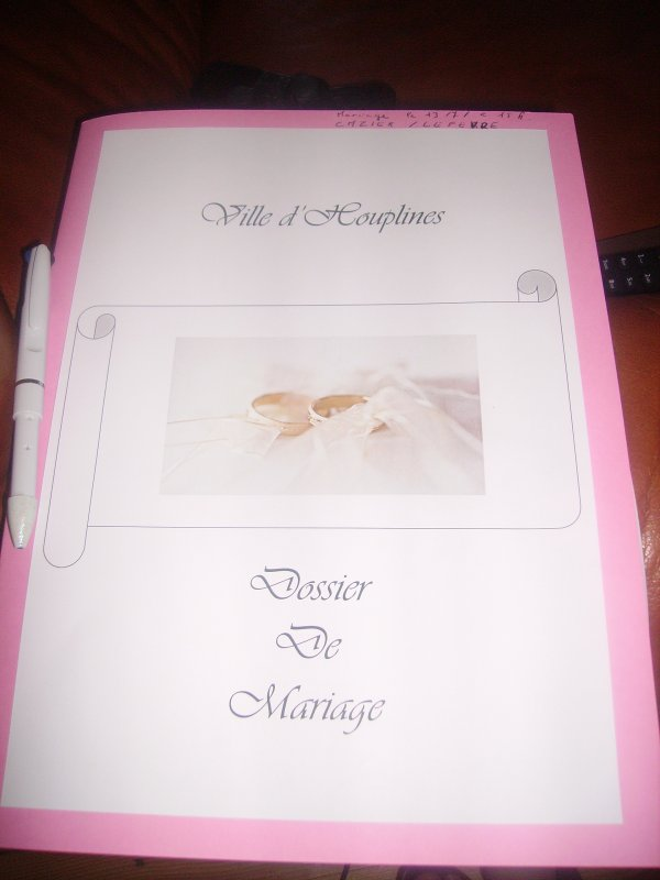 Notre dossier de mariage.