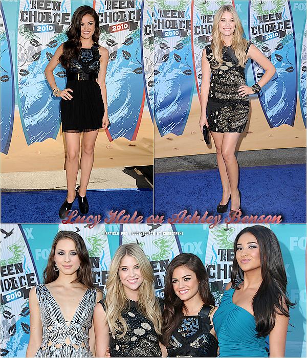 . Qui de Lucy Hale ou Ashley Benson était la plus belle aux Teens Choice Awards 2010 ? Donnes-moi ton avis par commentaire ou sur BensonAshe, mon affiliée. En expliquant ton choix *