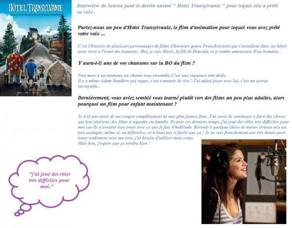 Interwiew de Selena pour Hotel Transylvanie