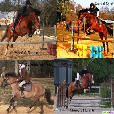 Caroline,Sophia et Claire des passionnées d'équitation.
