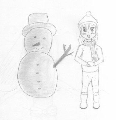 Dessin N 4 Fille Qui Joue Dans La Neige Stess62 S Drawings