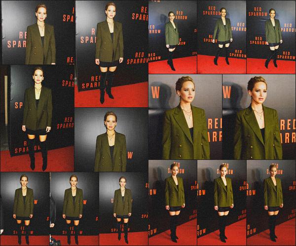 . 15.02.18 - Jennifer Lawrences'est rendue à la projection de son prochain film « Red Sparrow »'' ▬ ''à Washington ! Nouveau red carpet pour la belle actrice, qui a été vue à la première projection de son film, j'adore les chaussures et la tenue, un gros top .
