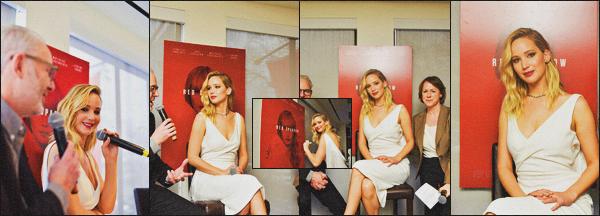 . 16.02.18 - Jennifer Lawrences'est rendue au déjeuner en l'occasion du film « Red Sparrow »'' ▬ ''dans Washington. Pas beaucoup de photos lors de cet événement, mais Jennifer y était sublime, sa robe blanche lui va très bien, j'accorde donc un beau top .