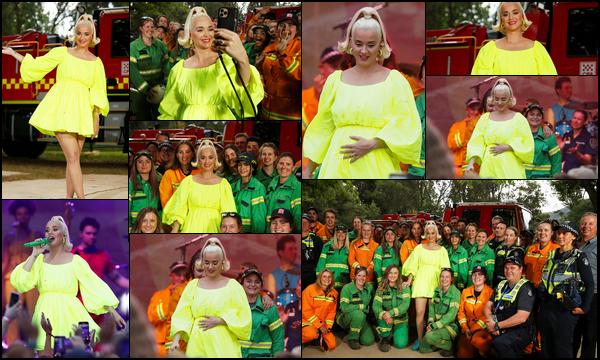 ● 12/03/2020 : Katy Perry était présente lors du concert « Fight On » situé au village de Bright en ▬ Australie  Ce concert  était gratuit et a eu lieu pour les pompiers et les communautés récemment touchées par les feux à Victoria.