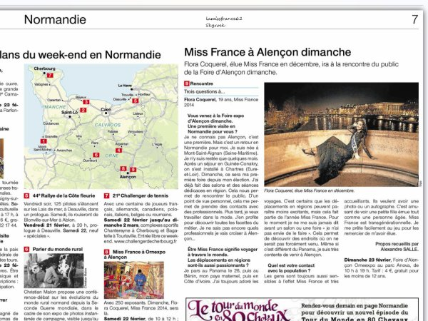 Flora au Japon / Flora avec le chef Norbert Tarayre / Flora avec le Samsung Note 3 / Flora dans le magazine Ouest France du 21 Février  /  Flora en séance de dédicaces