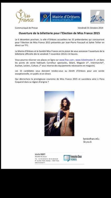 La billetterie pour Miss France 2015 ouvre vendredi à 14h au  Zénith d'Orléans