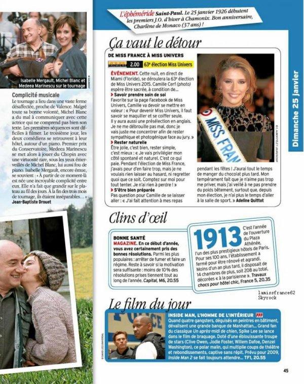 Camille dans le magazine  Télé 7 Jours / 11 ème jours