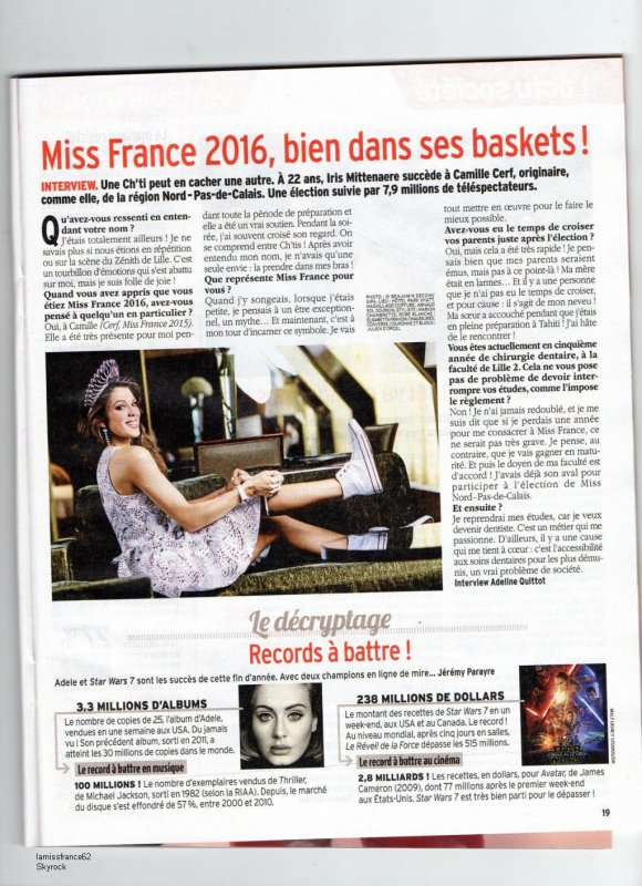 Iris dans Télé 7 Jours du 2 Janvier 2016  /   Iris a eu des bijoux de Julien Dorcel , Jean  Richard