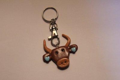 Taureau/vache boucles d'oreilles c½urs bleus