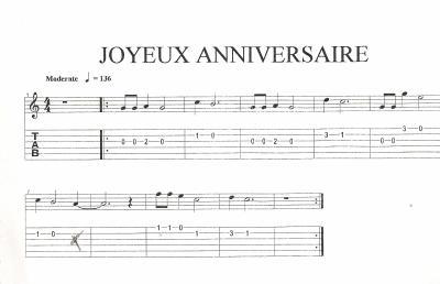 chanson anniversaire guitare