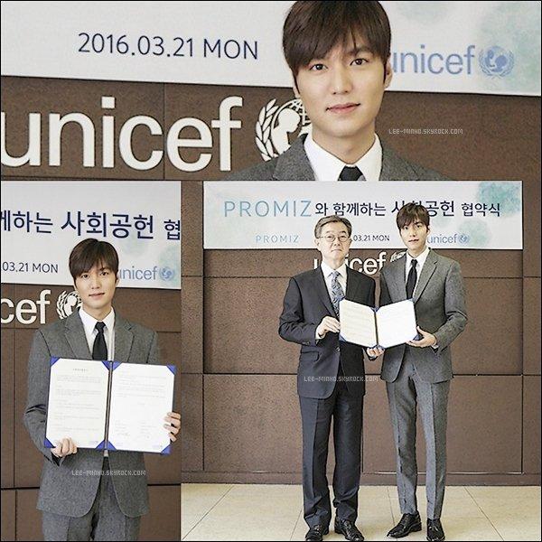 -- 22/03/16: Lee Min-ho fait un don à l'UNICEF W50m de 50 millions de wons soit 43.000 $  --