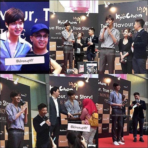 -- 25/03/2016: Lee Min-ho était comme prévu au lancement du troisième restaurant Kyochon en Malaisie. --
