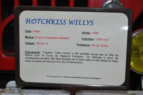 ANCIENNE VLTT HOTCHKISS JEEP WILLYS CSP REIMS-CHANZY
