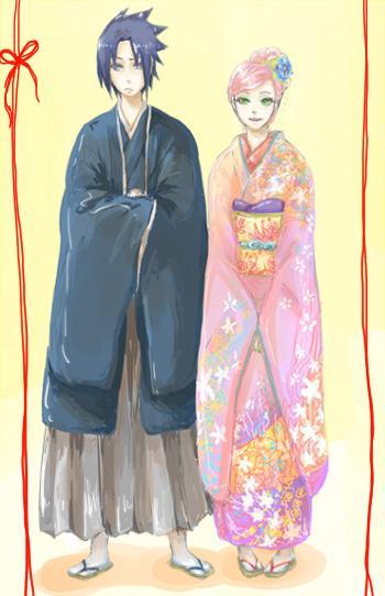 . sasuke et Sakura en Kimono.