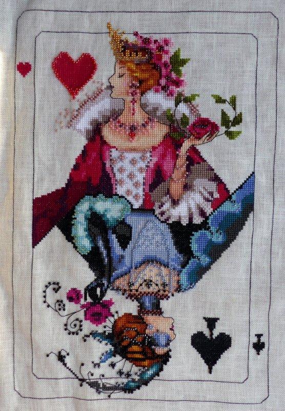 Broderie : Carte à jouer Dames Coeur et pic