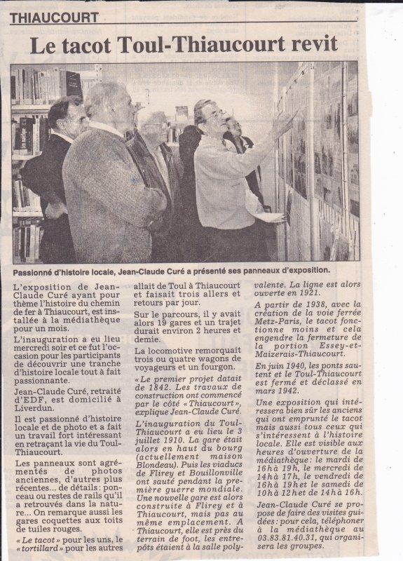 Les expositions - exposés de l'histoire du  Thiaucourt . ( I ) :