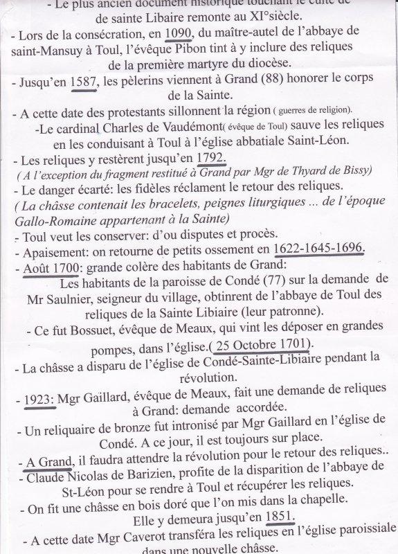 Histoire des reliques de Sainte Libaire: ( I )