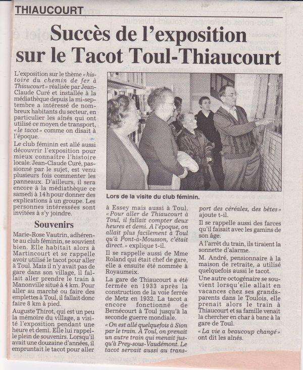 Les expositions - exposés du Thiaucourt  (  IV ) :