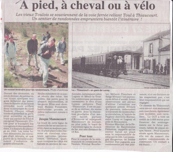 Le chemin de randonnées sur la voie du Thiaucourt : ( I ) .